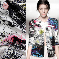 High Grade Luxury Abstract Floral Print Pure Silk Fabric With Spandex For Dress Suit Charmeuse Fabric