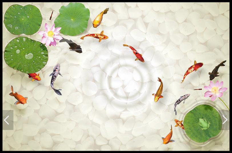 3D wallpaper customized 3D pvc floor painting wall paper 3 d floor lotus fish bathroom floor living room wallpaper