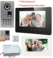 Video Intercom Fingerprint+Password Home Video Intercom  IP65 CCD 700lines Camera Wired  Color Monitor 7inch  Video Door Phone