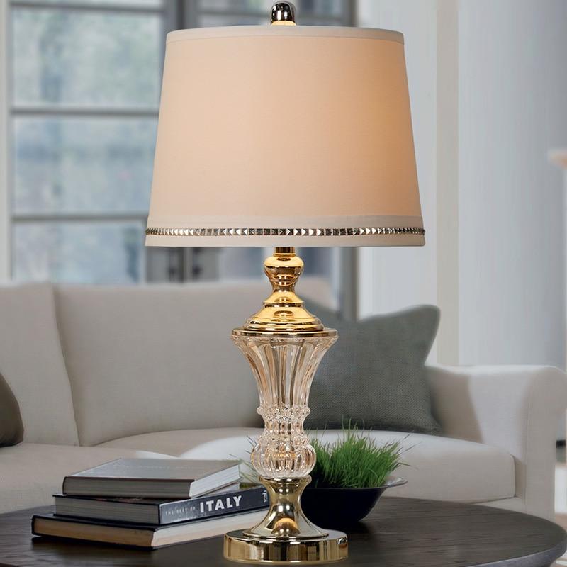 European crystal table lamp bedroom bedside lamp modern simple ...