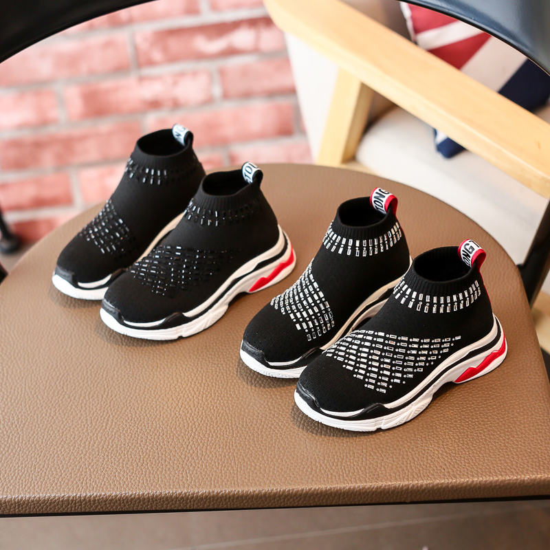 2018 breathable knitting children shoes stud crystal fashion kids boy & girls boots casual slip-on shoe designer collection walk children s shoes girls boys casual sports shoes anti slip breathable kids sneakers spring fashion baby tide children shoes