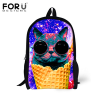 FORUDESIGNS Primary Bag 3D Galaxy Sunglasses Cat Printing School Bags For Teenage Girls Casual Children Schoolbags