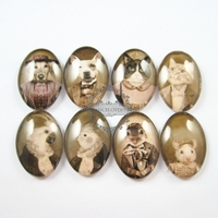 18X25mm Vintage Style Mr And Mrs Animal Dog Cat Rats Parrot Couples Oval Glass Cabochon DIY