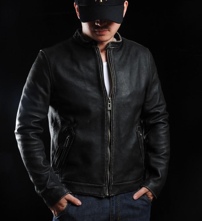 Highend mans echte koe lederen jas korte motorjas voor volwassen mannelijke vintage afwerking kort zwart plus oversized 4xl