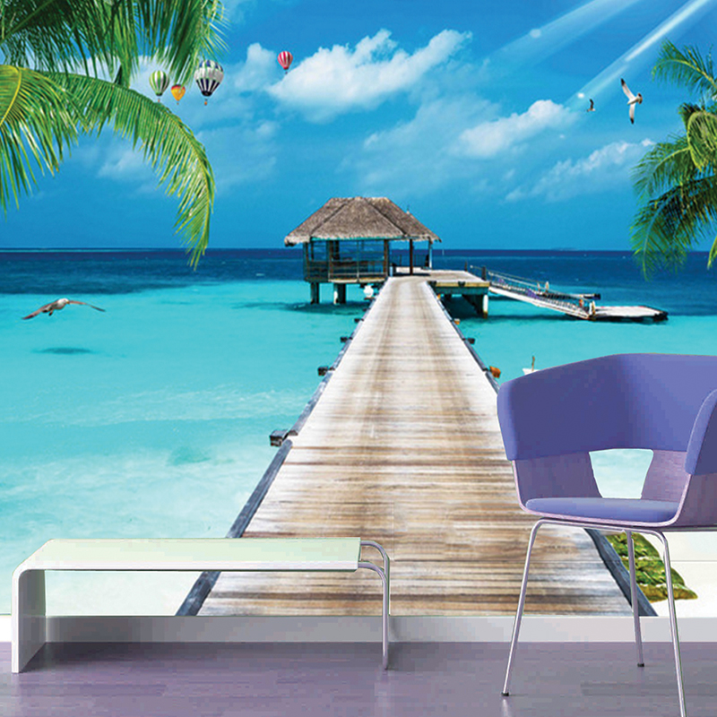 Custom 3D Photo Wallpaper Balcony Sandy Beach Sea View 3D Living Room Sofa Bedroom TV Background Wall Mural Wallpaper Home Deco book knowledge power channel creative 3d large mural wallpaper 3d bedroom living room tv backdrop painting wallpaper