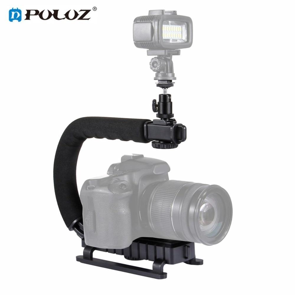 PULUZ U/C Shape Handheld DV Bracket Stabilizer Kit w/ Cold Shoe Tripod Head & Phone Clamp & Quick Release Buckle & Long Screw