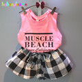 2016 Summer Baby Girls Outfits Sleeveless T-shirt+Dress-Shorts 2pcs set Kids Clothes Children Clothing 0-7Years Toddler BC1255