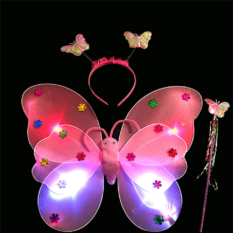 2017 High Quality 3pcs/Set Girls Led Flashing Light Fairy Butterfly Wing Wand Headband Costume Toy Great Fun For Children Play #