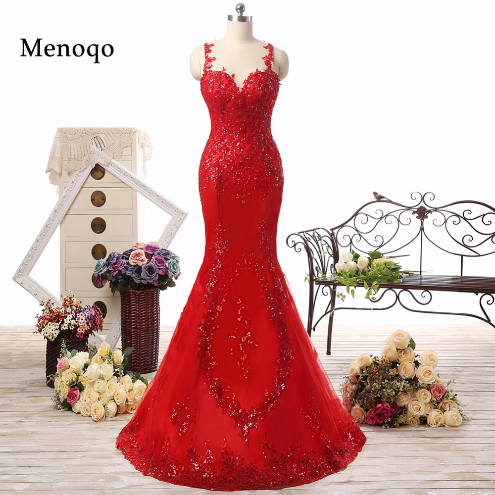 0218-PRD Mermaid Tulle Applique Beaded Sheer Back Sweep Train Vestidos De Gala Real Picture Sexy Long Red   Prom     Dresses   2018