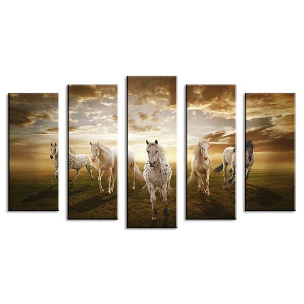 5 pièces peintures murales maison décorative moderne cheval Art combinaison peintures pour la maison idée créative décor pas encadré! Toile