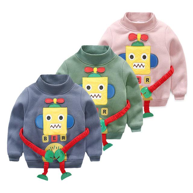 Nova LittleSpring Bebê Menino Robô Moletom Patchwork Engrossar Inverno Forro de Veludo Pullover Criança Crianças Menino Dos Desenhos Animados Hoodies Do Ártico