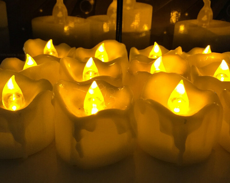 72 LED Battery Amber Flameless Wedding TeaLight Candle