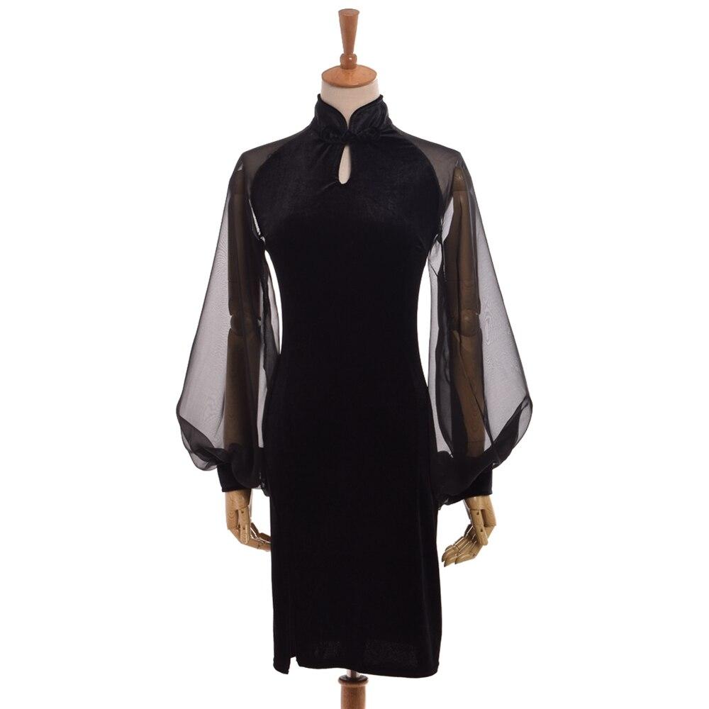 1pc Sexy Women Vintage Gothic Dress Black Chiffon Cheongsam Lantern Sleeve Qipao