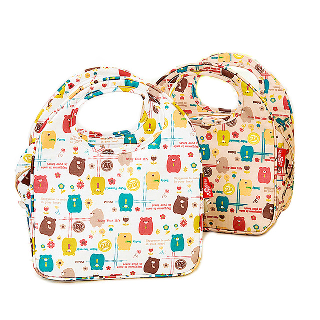 Waterproof Lunch Bag Thermal Cooler Lunch Box Borsa Termica Pranzo HandBag Cartoon Bear Insulation Refrigeration Bento Kids Tote