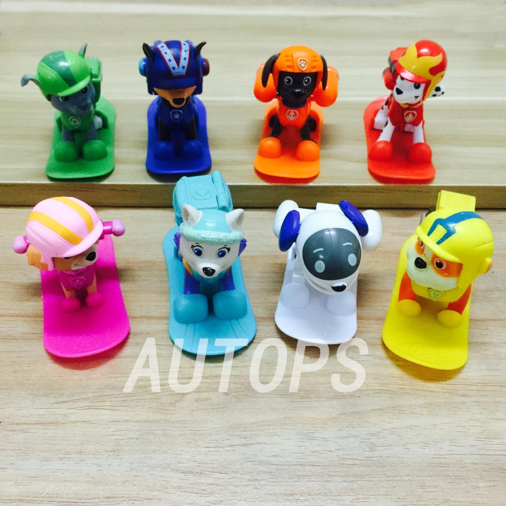 8pcs/lot Patrol Dog Shoot off the bullet Anime Patrulla Canina Toys Marshall Chase Action Figure Fun Dolls Puppy Kids Toy Boy