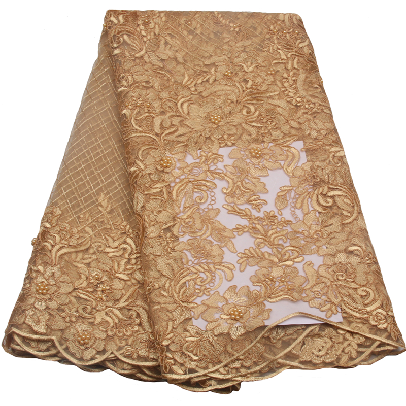 French Tulle Lace Fabric 2018 Latest african Gold Beaded lace fabric embroidery mesh tulle Peach Pearls Long Drress XY689B 1
