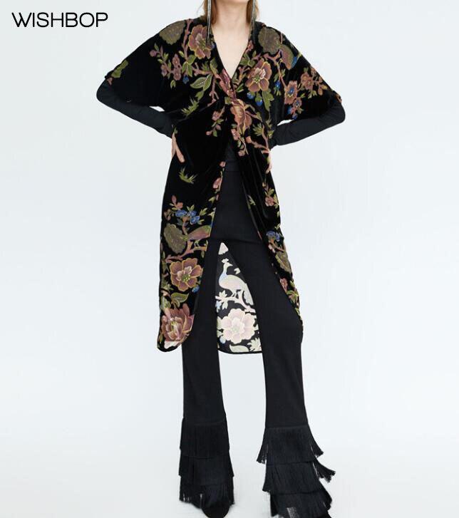 WISHBOP NEW 2018 Spring Floral Print Black DEVORE Velvet Long Blouse Shirt  Short Sleeves Front Knotted Slits Detail V-neck TOP fc3584e634dc