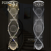Modern Spiral Staircase K9 Crystal Chandelier Lighting Double Spiral Crystal Ceiling Lamp Living Room Hanging Lamp