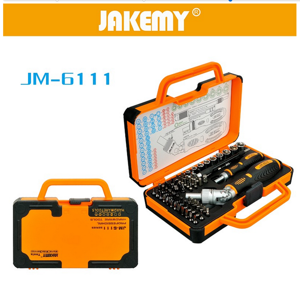 JAKEMY JM-6111 Rotatable Ratchet Handle Slotted Torx Hex Pozi U Phillips Screwdriver Bits Set For Electronics Hardware Repairs xkai 14pcs 6 19mm ratchet spanner combination wrench a set of keys ratchet skate tool ratchet handle chrome vanadium