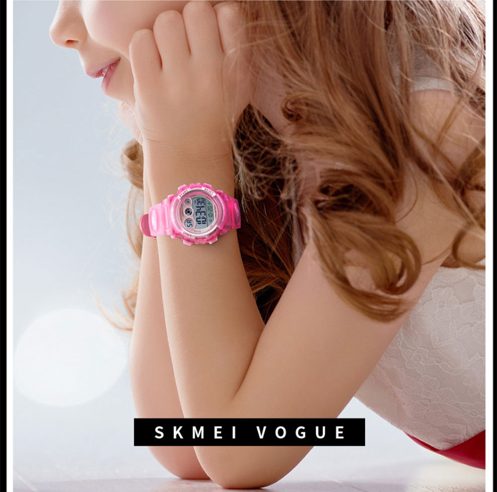 <font><b>SKMEI</b></font> Children's Digital Wristwatch 50m Waterproof Date LED Alarm Watch <font><b>1451</b></font> EL Light Luminous Time Date Week Display image