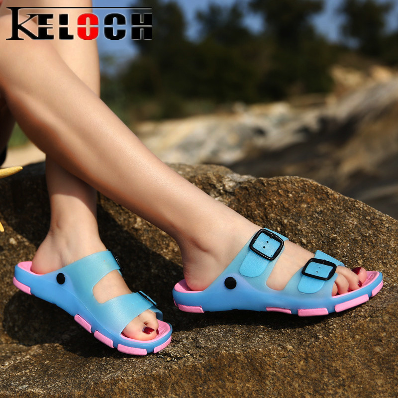 Keloch Womens Sandals Summer Casual Flats Women PU Jelly Shoes Sandalias Female Swimming Beach Shoes Women Home Slippers Pantufa