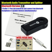 цена на 10pcs!1 Trailer 2 Multi-point Wireless 3.5mm Bluetooth V3.0 Audio Transmitter+Splitter,Stereo Dongle Adapter,for iPod TV DVD MP3