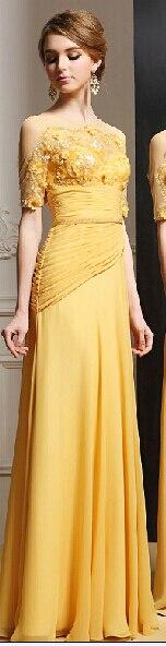 Желтый пляж вечерние платья само вечернее о-образным шею с коротким рукавом блестками и ручной цветок и Pleat пола пром платья - Цвет: Золотой