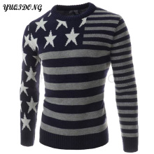 2017 New Winter Top Quality Stripe O-Neck Printing Pullover Men Slim Fit Sweater Men Pull Homme Sudaderas Mens Sweaters Size XXL