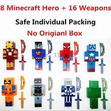 8 pçs/lote Minecraft Brinquedos Star Wars Brinquedo Blocos de Construção Vingadores Super Herói Justiça Figuras de Ação Brinquedos Modelo Para As Crianças # H