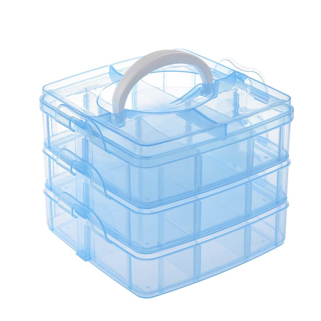 Синий Пластик Пустой 3 слой Дело Коробка для хранения Дизайн ногтей Craft Макияж