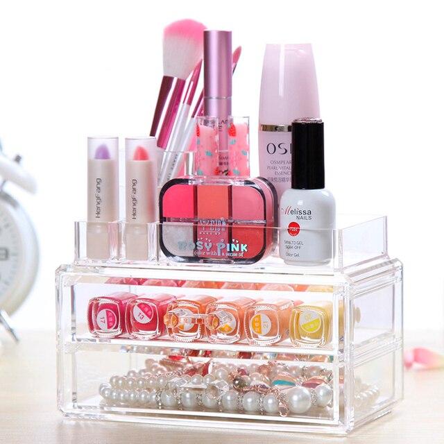 Clear Acrylic Cosmetic Organizer Make Up Plastic Storage Box Jewelry