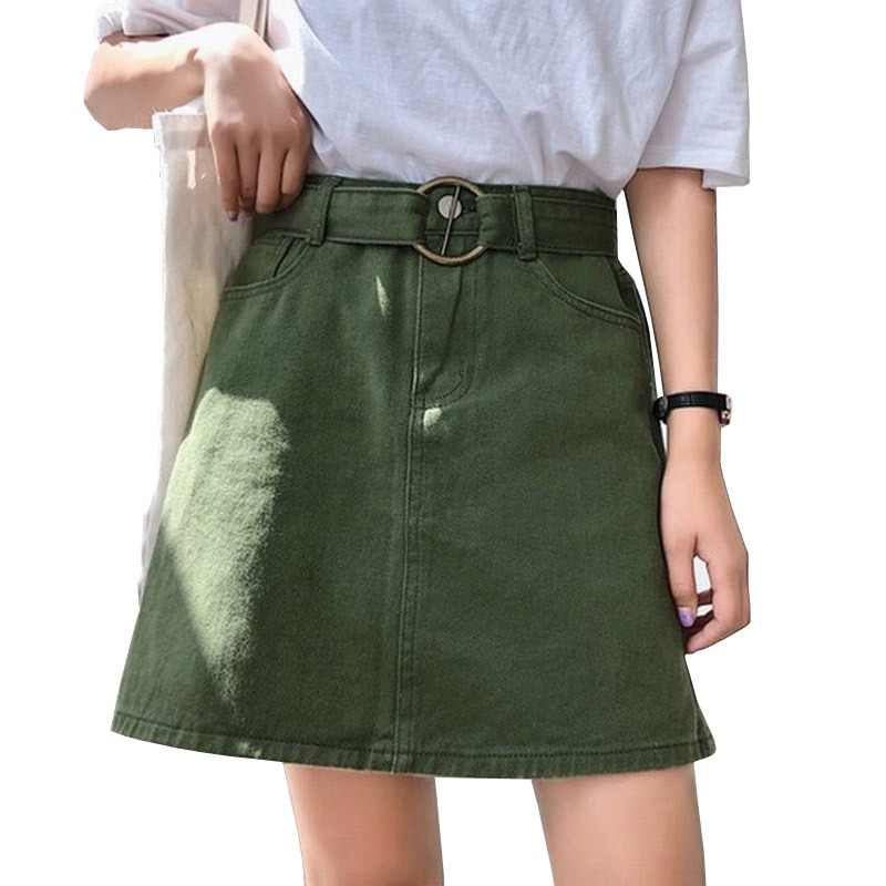 e94d5bf72c3 Candy Color Summer Women Jeans Skirt A-Line Belt Casual Harajuku Denim Jupe  Mujer College