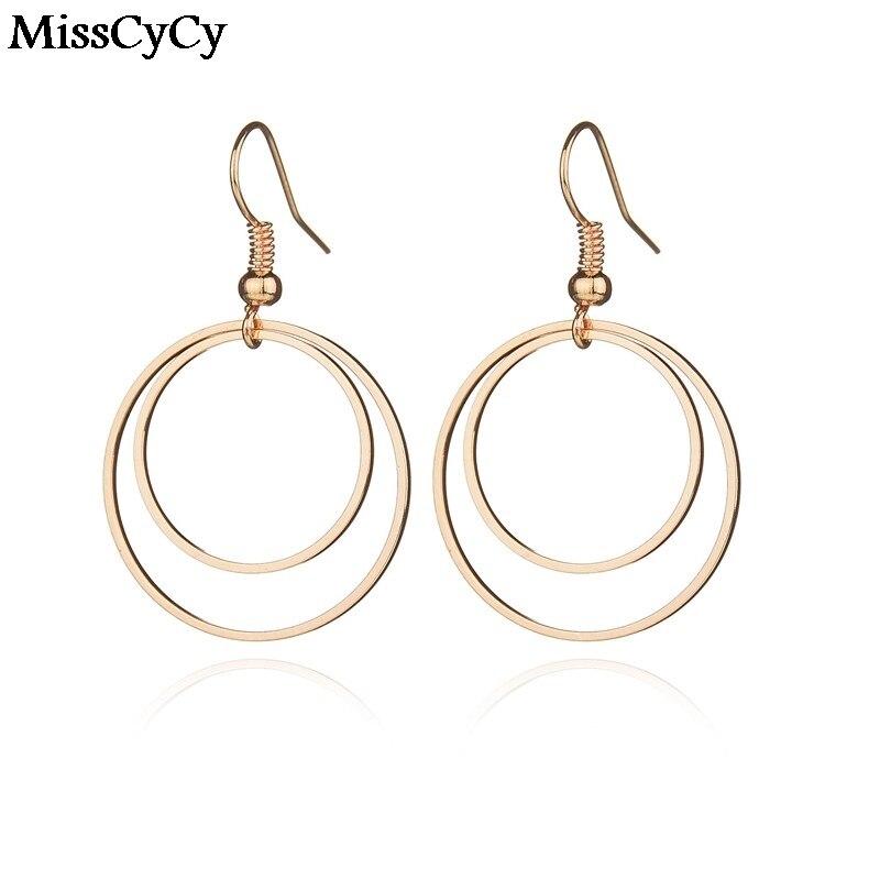 MissCyCy Romantic Style Gold Color Earrings Small Double Circle Drop Earrings For Women Jewelry