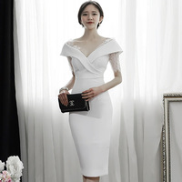 2018 Summer Lace Patchwork V Neck Sexy Women Cloth Bodycon Sheath Pencil Knee Length Party White Dress