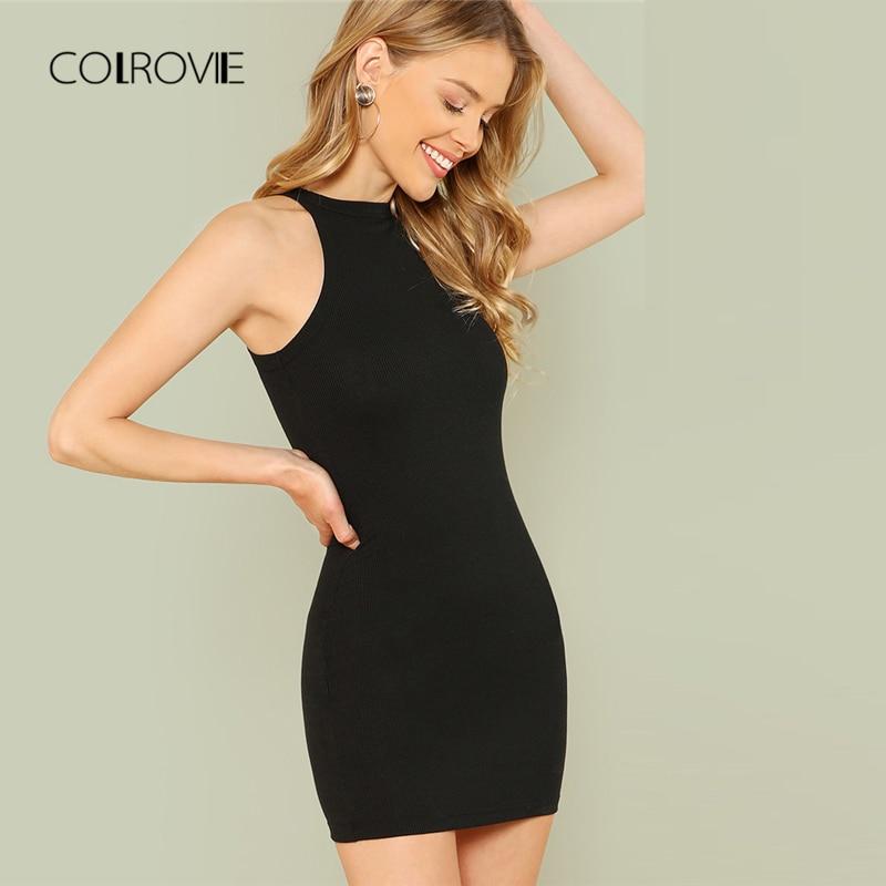 Buy COLROVIE Black Sexy Sleeveless Mock Neck Solid Halter Summer Dress Mini Dress 2018 Slim Casual Women Dress Basic Bodycon Dress