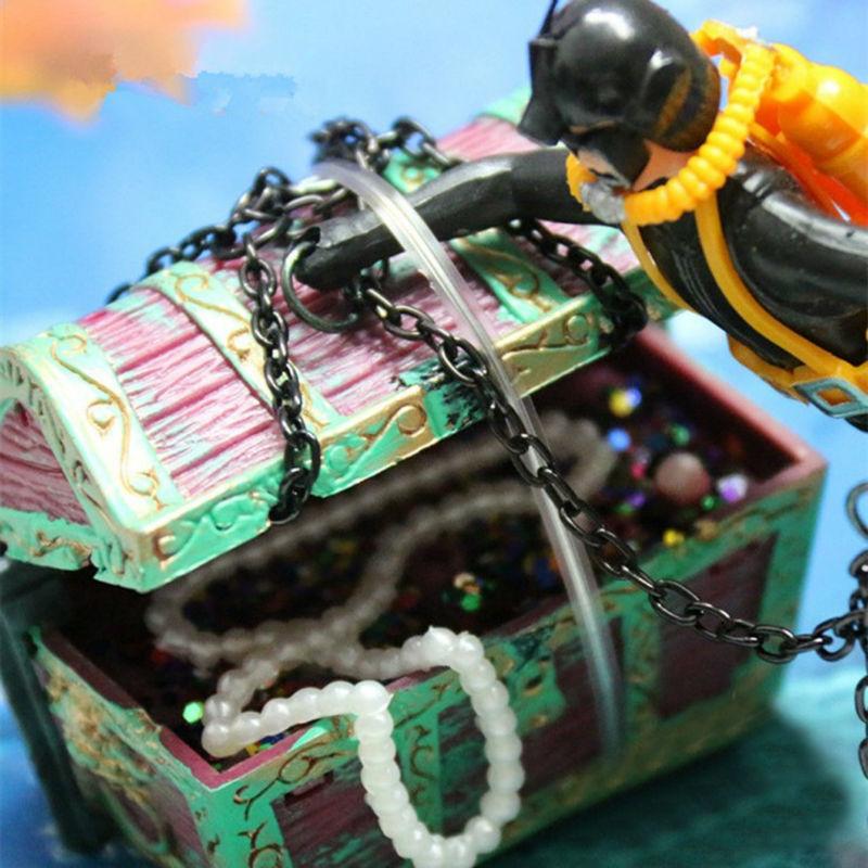 Thesari më i ri i Aquarium Ornament Treasure Hunter Thesari Figura - Produkte për kafshet shtëpiake - Foto 5