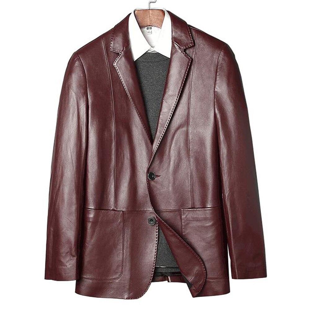 Vin Véritable En Cuir Rouge Réel Veste Vêtements Formelle Peau Mouton D'affaires Hommes Costume De Printemps Noir WH29eDYEI