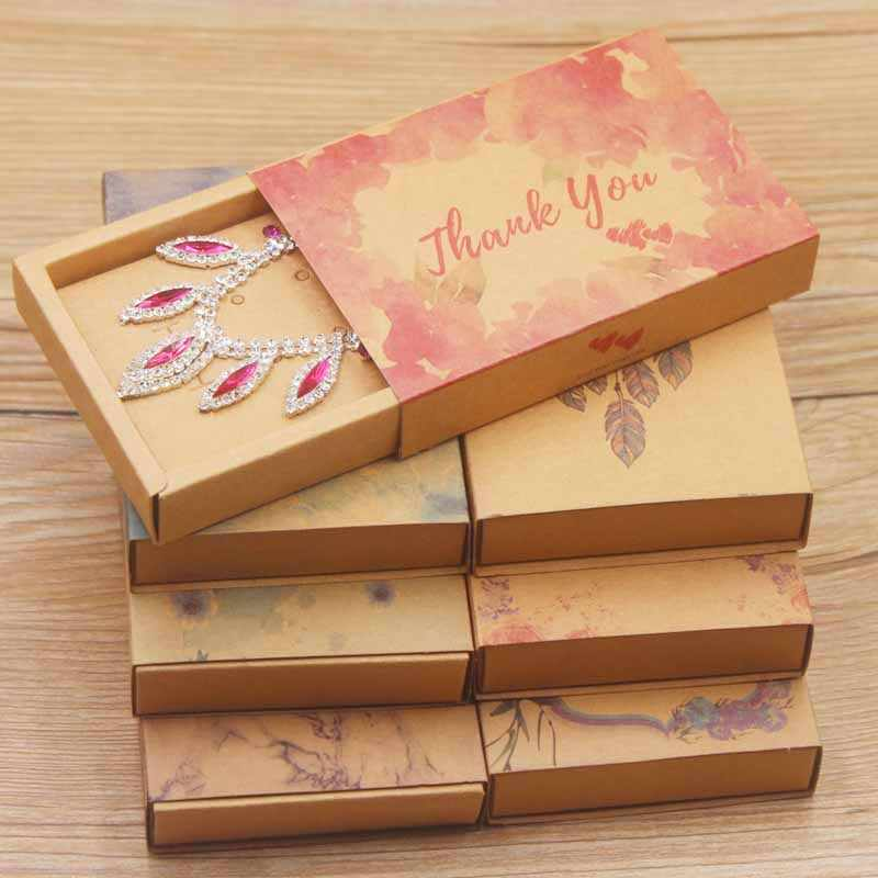 12pcs Color Printed Necklace Earring Package Box DIY Paper Box for Wedding Gift