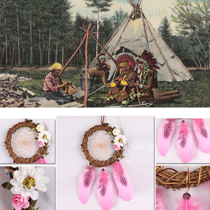Pink Wall Hanging Dream Catcher Big Handmade Feather beads Dream Catcher DIY Dreamcatcher for Home Decoration