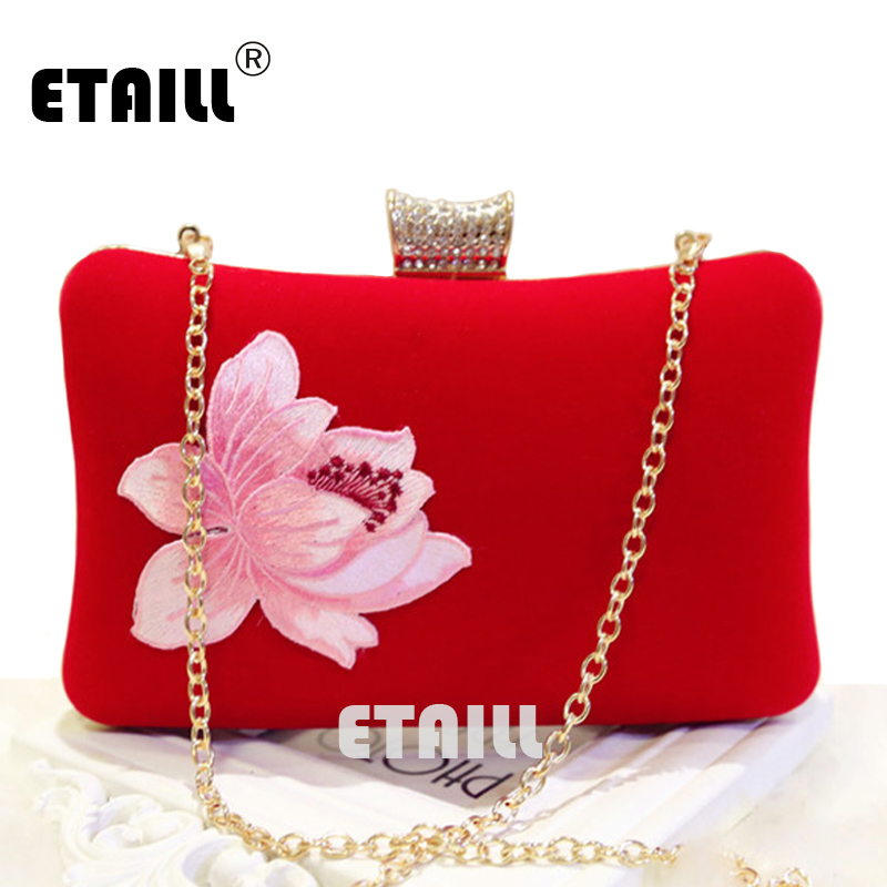 ETAILL 2017 Lotus Embroidered Clutch bags Appliques Chain Women Shoulder Bag Ladies Wedding Evening Bag for Party Day Clutches bardot embroidered appliques crop top