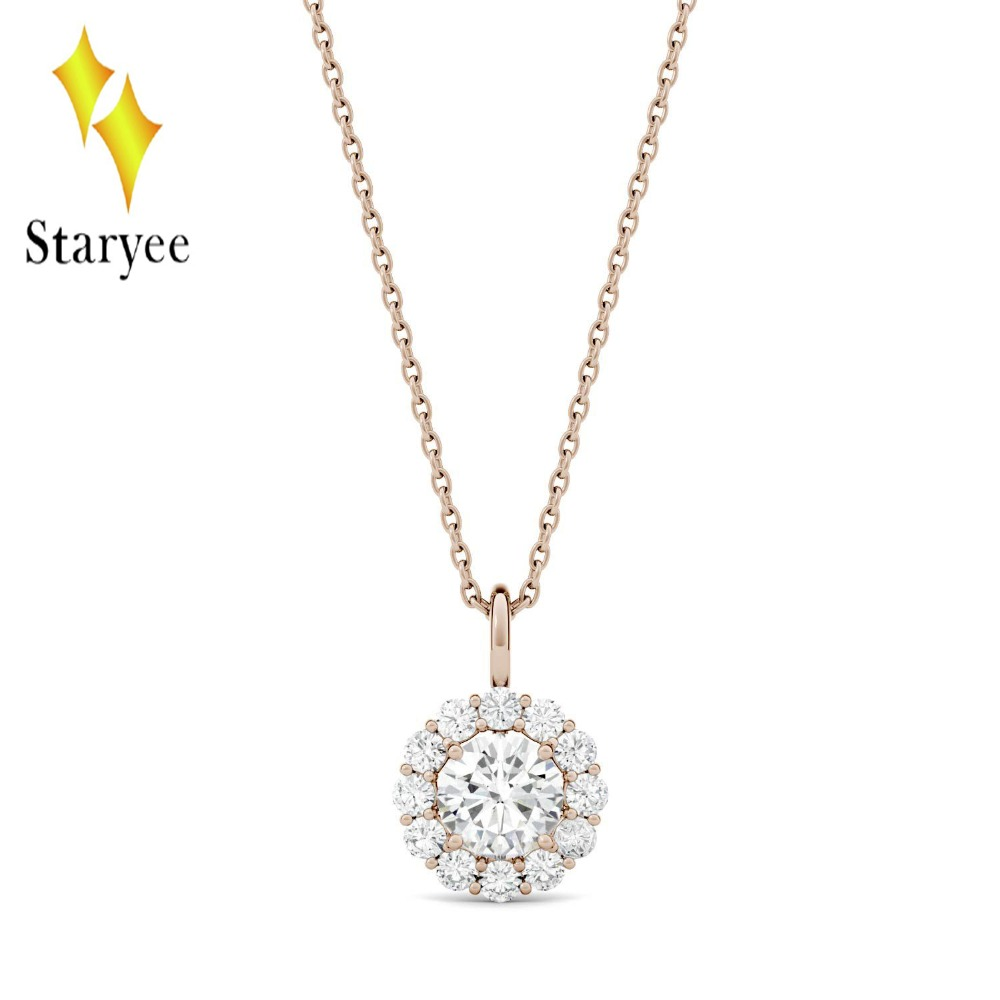 Round Moissanite Engagement Halo Necklace 0.6ct GH VS Lab Grown Diamond 18K Rose Gold Wedding Necklace Pendant Jewelry Gift bk 4371 18k alloy crystal artificial fancy color diamond pendant necklace golden 45cm