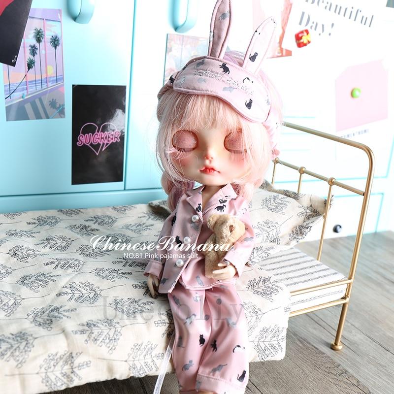 Blyth 인형 의류 액세서리에 대 한 1 pcs 고품질 귀여운 blyth 인형 핑크 고양이 잠 옷 정장 (상단 + 바지 + 눈 패치)-에서인형 액세서리부터 완구 & 취미 의  그룹 2