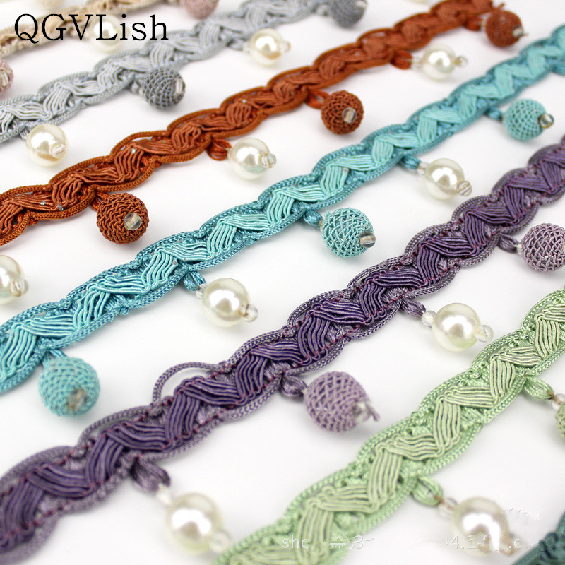 Qgvlish 12m/lot Pearl Beads Curtain Tassel Fringe Lace Trim Diy Sew Sofa Stage Lamp Lace Ribbons Belt Curtain Accessories Decor Home Decor Home & Garden