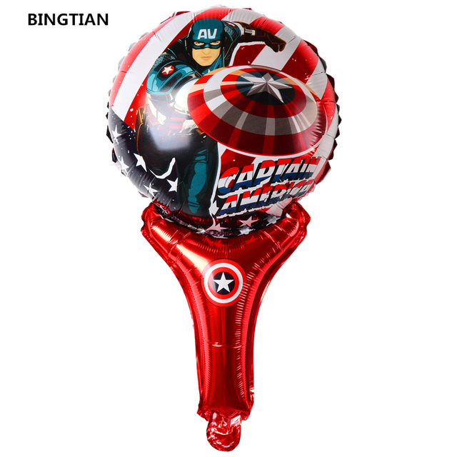 BINGTIAN Marvel-ballon en aluminium | super-héros Captain America Superman hero, fête danniversaire, jouets pour enfants, bâton pour mains