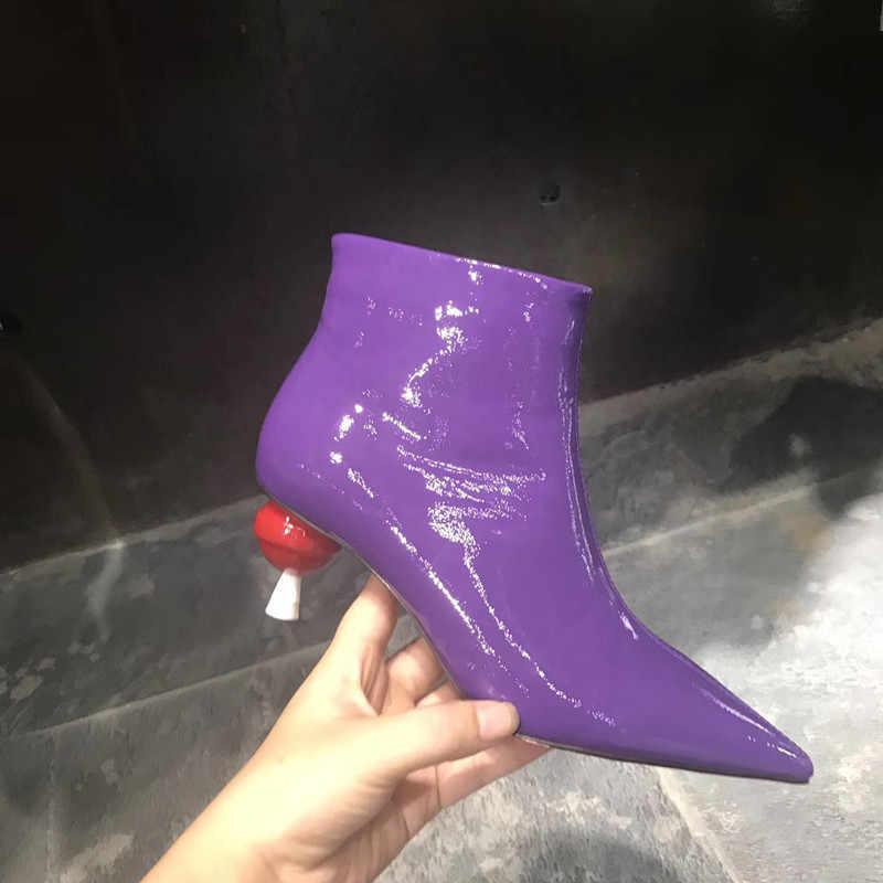 2018 patent deri yarım çizmeler kadınlar için lolipop yüksek topuklu kısa çizmeler sivri burun pist tarzı retro martin ayakkabı bayanlar