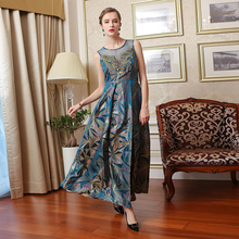 Silk Embroidered Lace Vintage Women Maxi Dress