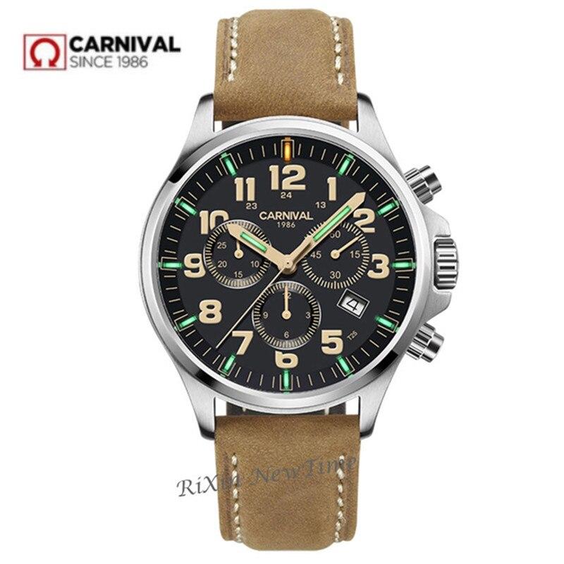 Cronógrafo t25 tritium luminous stop watch men marca de luxo suíça ronda relógios de quartzo relógio de couro à prova dwaterproof água