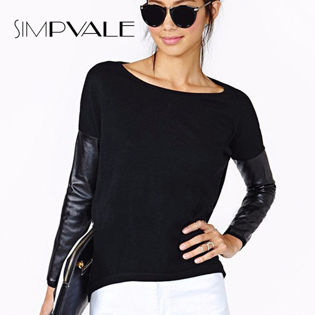 2016 Women Pullovers Sweater Womens Long Sleeve Sexy For Black PU Leather Patchwork Knitted Tops Plus Size