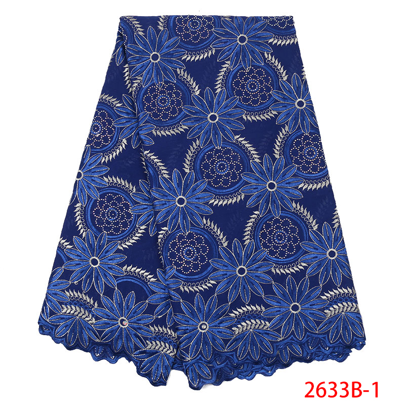 2019 Best Selling Swiss Voile Laces In Switzerland African Lace Fabric Nigerian French Fabric Embroidered Cotton Stone KS2633B-1
