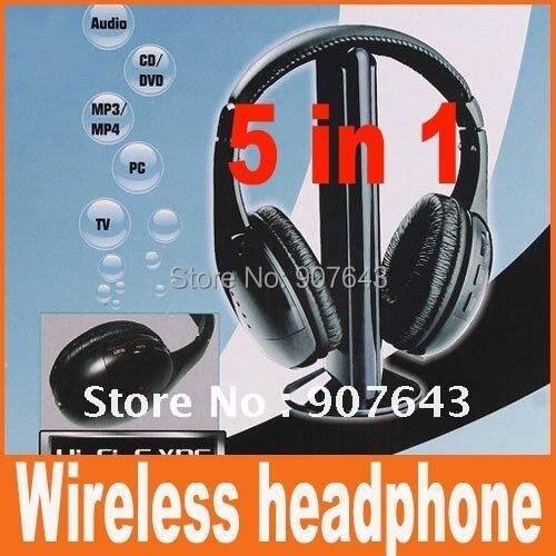 5 in 1 HIFI Wireless headphone Earphone Headset wireless Monitor FM radio for MP4 PC TV audio,free shipping